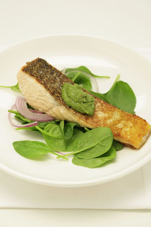 Roasted Salmon with Walnut Pesto : The Healthy Chef – Teresa Cutter