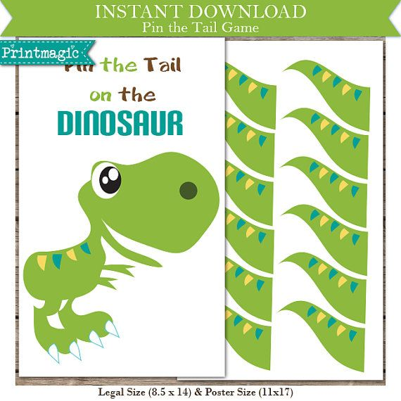 Perfect for your Dinosaur themed party - just print & play! Design files included:  - Legal Size (8.5x14) Pin the Tail on the Dinosaur Game Poster &