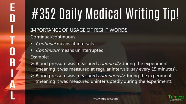 #TuracozHealthcareSolutions (#THS) informs you about the correct rule for usage of the words #Continual and continuous in #MedicalWriting.