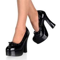 "$63 Black Patent Bow Pin Up Shoes. 5"" high heel black platform pin up shoes."