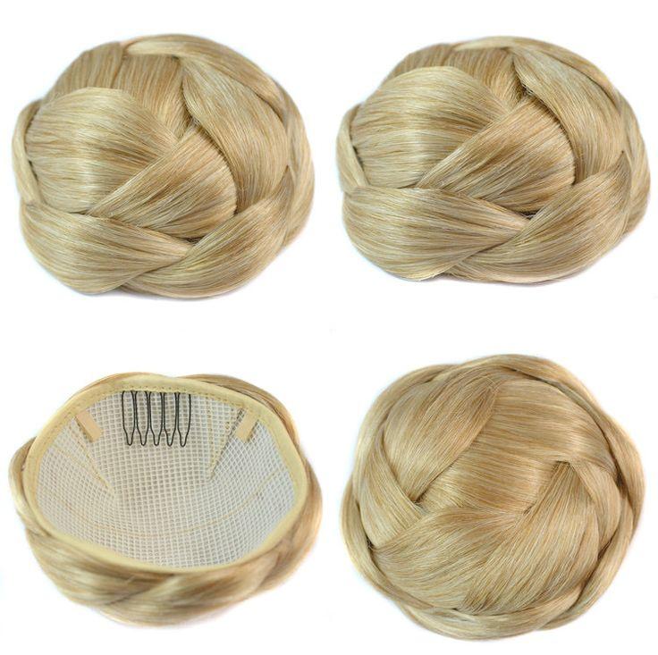 Q85   Synthetic hair buns bun hair chignon color of 16/613 fake hair bun pieces