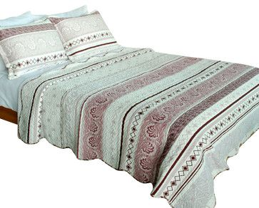 [Spring Creek] Velvet 3PC Patchwork Quilt Set (Full/Queen Size) - midcentury - Quilts - Blancho Bedding