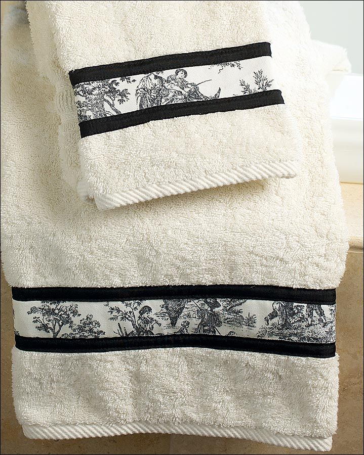 Here's how to take a towel set purchased at a discount store and with some simple sewing give it a spendy designer look