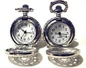 Steampunk Silver Pocket Watch Cufflinks Mens Retro Victorian Style Spider Web Gothic Filigree Cuff links Goth