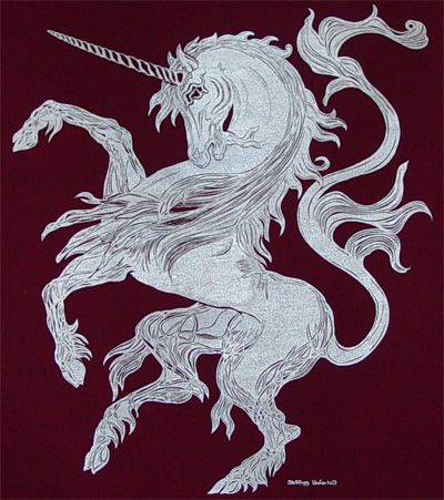 Unicorn Banner - An elusive and rare creature so pure that only a fortunate and worthy few have glimpsed it's splendor from afar. First employed by the steward kings of Scotland, thence incorporated by James I to the arms of Great Britain. The Unicorn symbolizes benevolence and courtly love. The horn is believed to have medicinal properties guaranteeing life and health