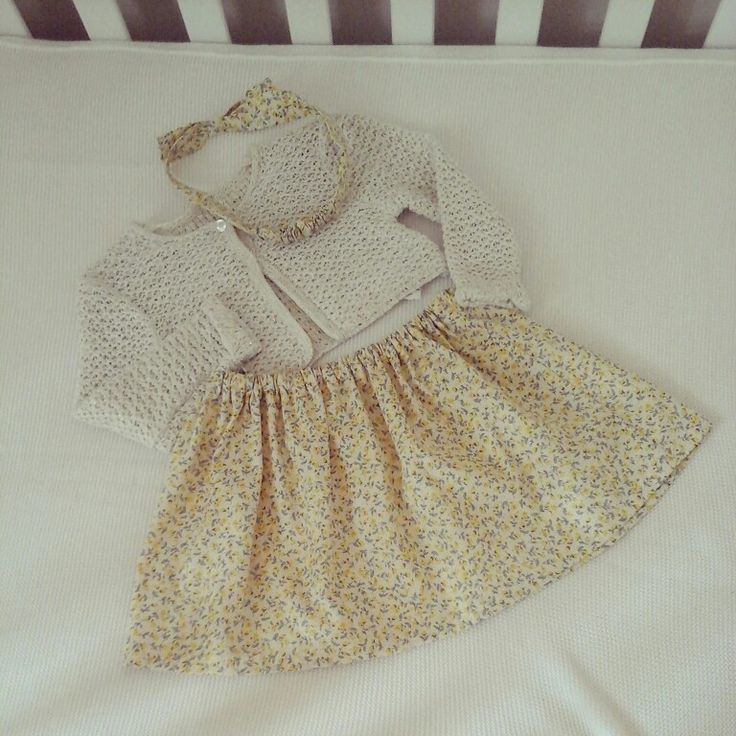 BABY STYLING @linzy_o Spring yellow floral skirt & headband match with this fab @Dunnesstores.ie dark cream nd sparkle cardigan #babystyling #toocute #handmade #prettylittledresses #Spring