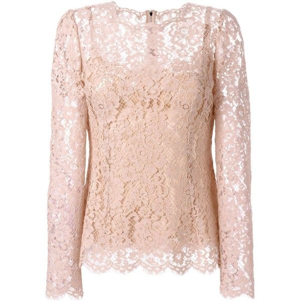 Dolce & Gabbana floral lace blouse ($2,385) ❤ liked on Polyvore featuring tops, blouses, layered tops, pink blouse, pink lace blouse, long sleeve tops and floral blouse