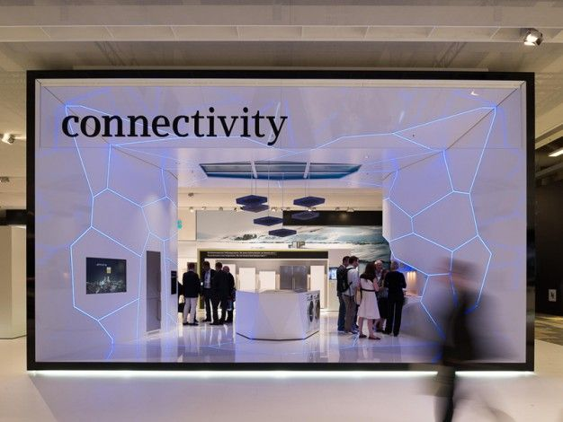 """The special walk-in """"House of Innovations"""" frame is dedicated to the networked home, in which intelligent devices can be controlled remotely and exchange information with each other."""