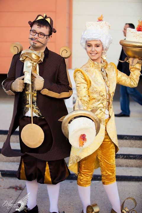 Big Ben (or Cogsworth) and Lumière from The Beauty and the Beast Cosplayer Papy Laurent cosplay and Zexia cosplay Photographer OMarcel Photography #cosplayclass #cosplay #costume