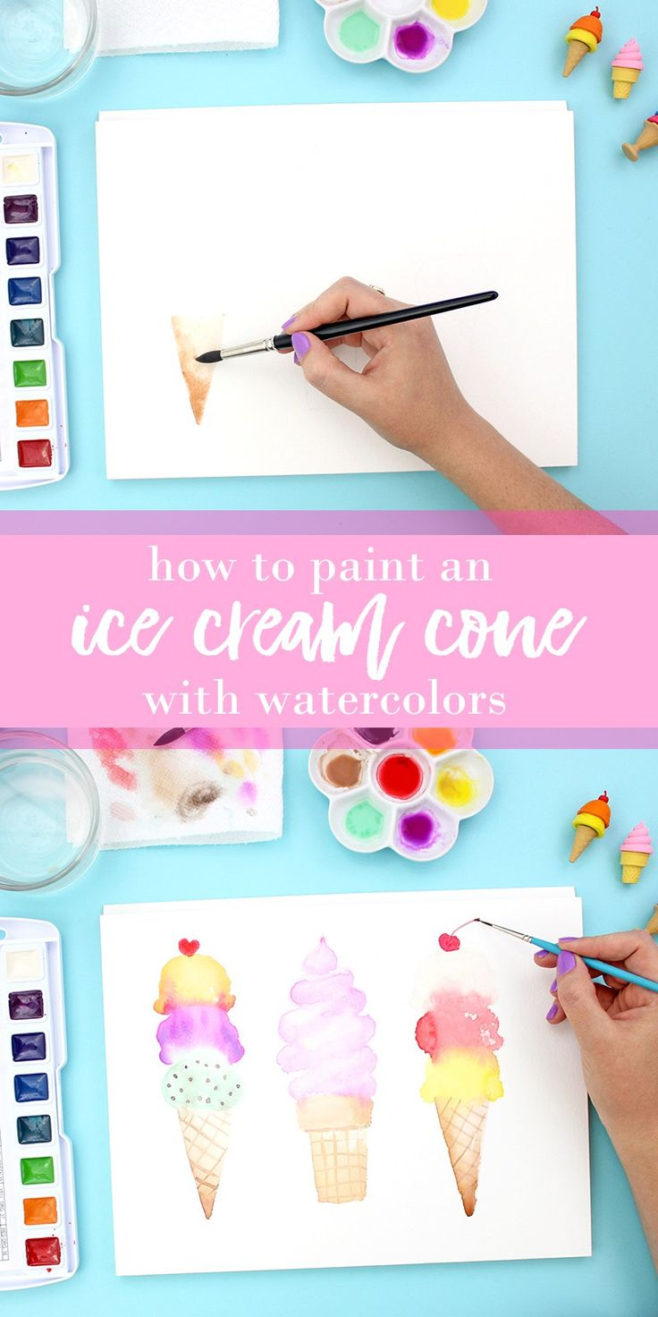 Click through to see the full tutorial - lots of pictures - great for watercolor beginners! These ice cream cones are so cute and so much fun to paint. #watercolor #watercolors #icecream