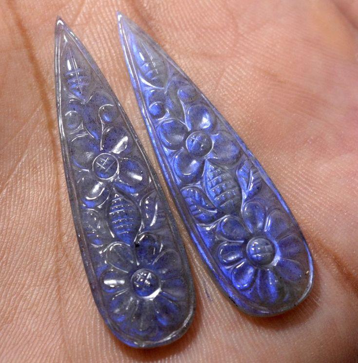 32.74 CTS Natural Labradorite Hand Made Carving Pair 45x12 mm Loose Gemstones #SBIGems