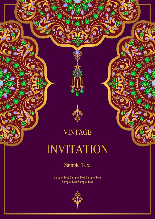India styles vintage invitation card vector template 06