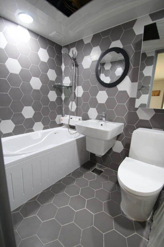 헥사타일을 이용한 욕실 인테리어 : 모던스타일 욕실 by 라온디자인