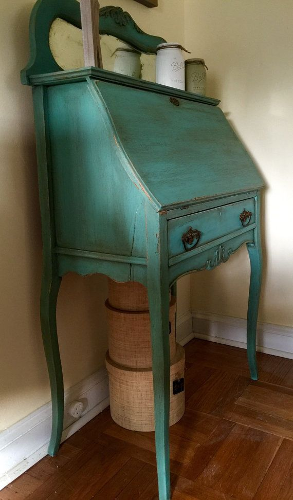 Sold Vintage 1940 S French Secretary Desk By Colorfulhomedesigns Painted Secretary Desks