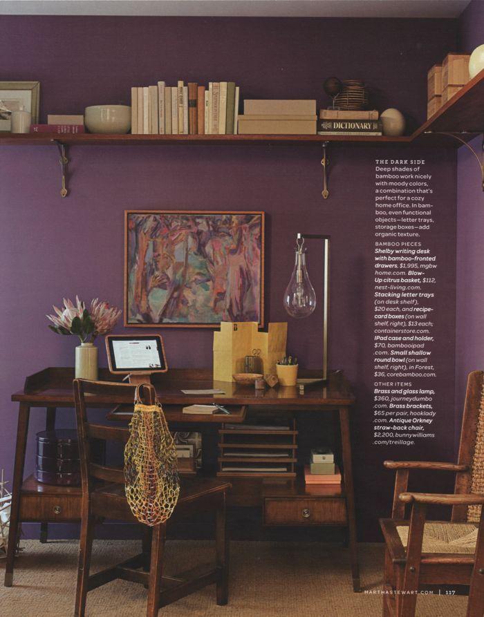 I like purple for a guest room/office. I like the wrap around shelf, too!