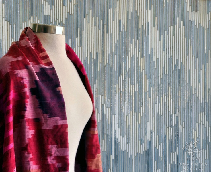 Weft A Jewel Glass Mosaic Shown In Quartz And Pearl Is Part Of The Ikat Collection By New Ravenna Mosaics