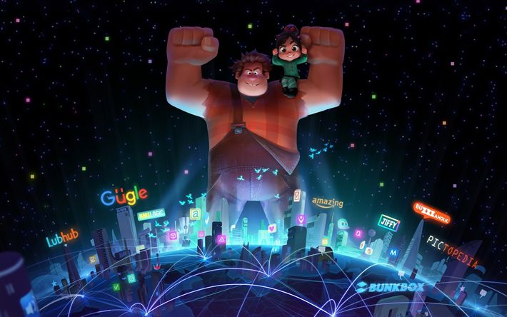 Download wallpapers Ralph Breaks the Internet, Wreck-It Ralph 2, 2018, new cartoons, poster, promo materials, adventure comedy film