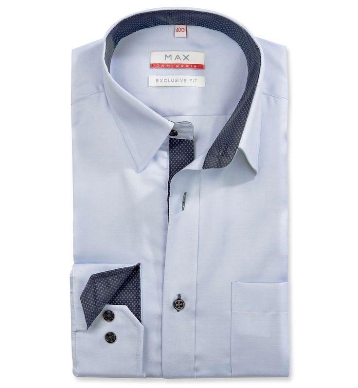 Modern Fit polopriliehavá modrá štrukturovaná košeľa Rybia kostra (keprová tkanina)