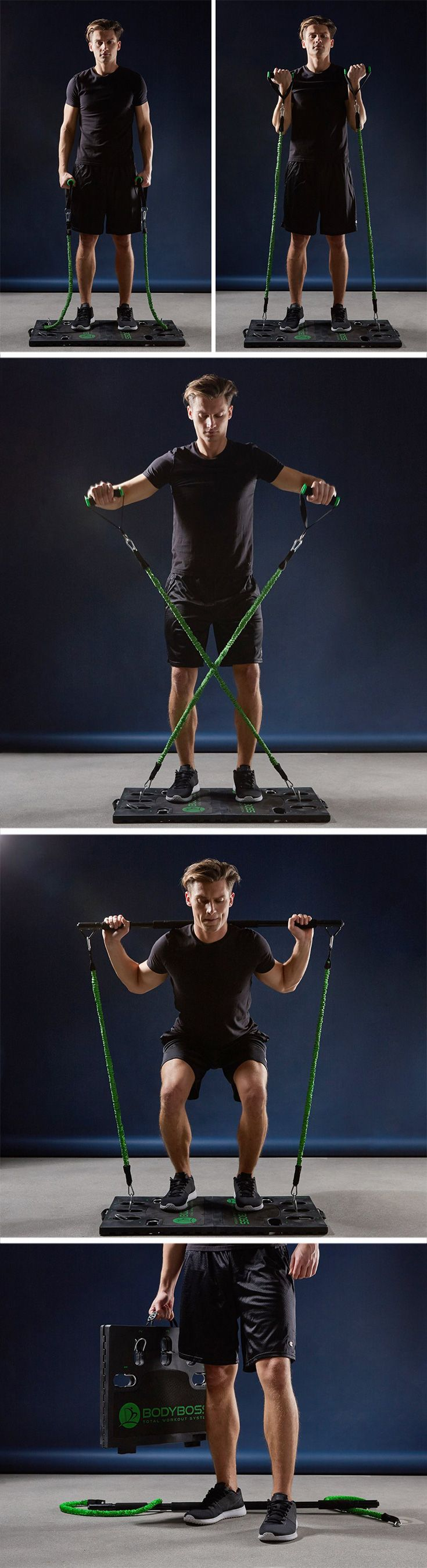 The bodyboss uses pulling of elastic cords to