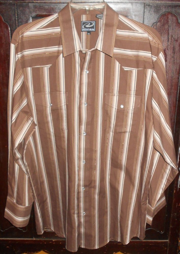 ROPER Men's Pearl Snap Front Longsleeve Shirt~Brown Stripes~2XL~Cowboy Rodeo | Clothing, Shoes & Accessories, Men's Clothing, Casual Shirts | eBay!
