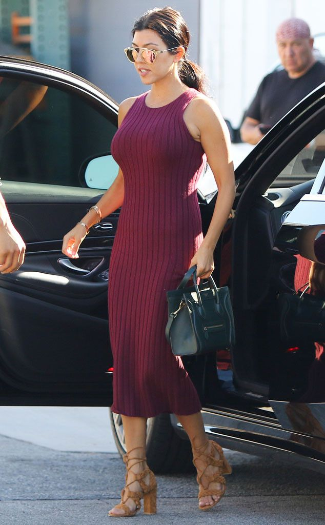 Bring on the Berry! Kourtney Kardashian Is Fall-Ready in Burgundy Sweater Dress with Matching Lipstick?Get All the Details | E! Online Mobile