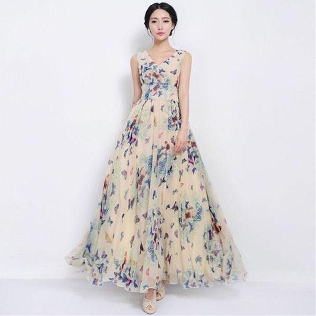 sexy vrouwen zomer maxi jurk lange jurken chiffon strand toevallige losse vlinder afgedrukt jurk slanke merk vestidos plussize xxxl