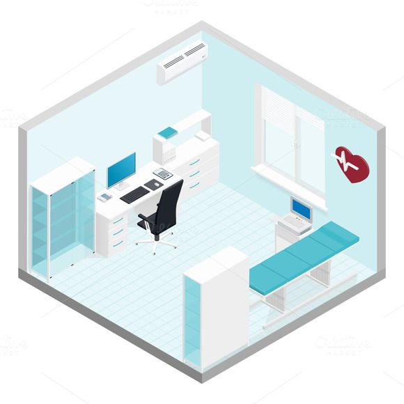 Cabinet cardiologist isometric room by Equipoise on @creativemarket