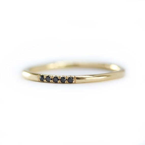14k Yellow Solid Gold Black Diamonds Wedding by KHIMJEWELRY