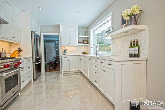 Painted Shaker Style Kitchen Quartz- Caesar-stone Counter Tops