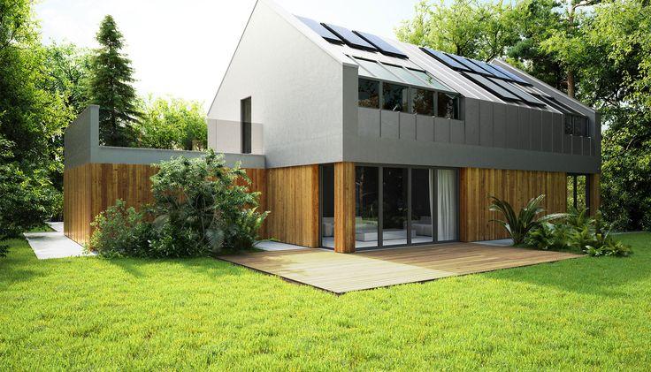 Trafność 95 %  Jeden z naszych  typów jeśli chodzi o dach spadzisty. Szary + elewacja robią świetny efekt. Proste linie.