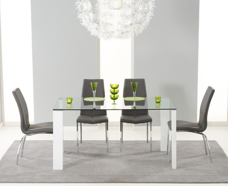Lavina 150cm Glass And White High Gloss Dining Table With Cavello Chairs