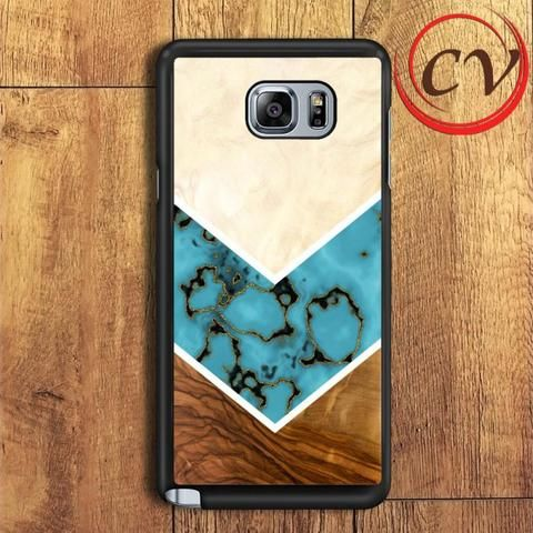 Wood Turquoise Samsung Galaxy Note 5 Case
