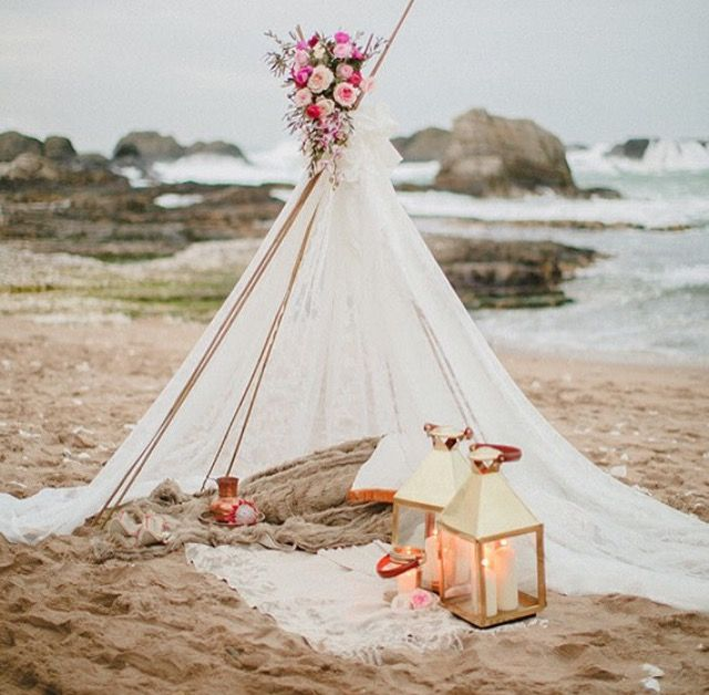 This is everything for a bohemian beach loving bride!