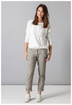 MISS CAPTAIN - PULL DENTELLE + PANTALON LIN