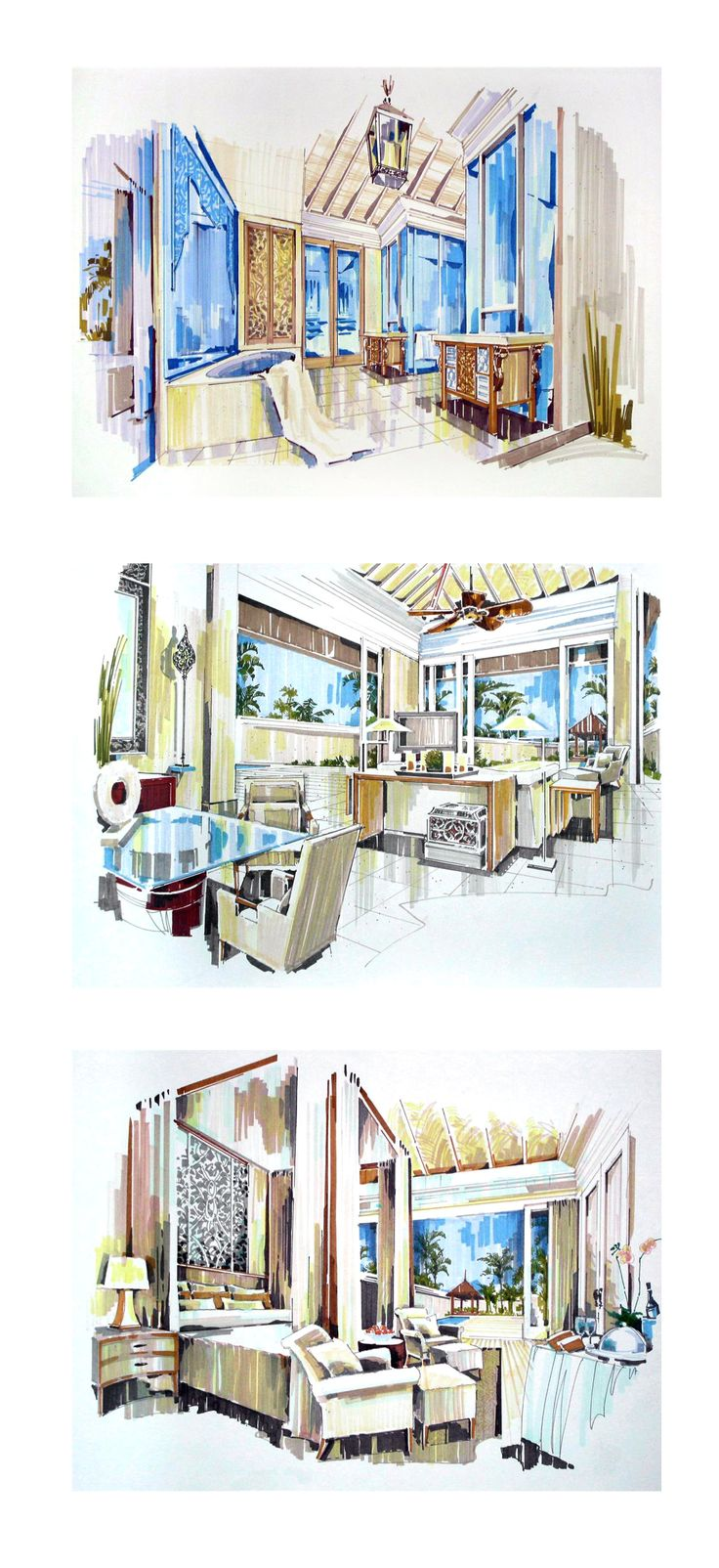 Interior design renderings. designer unknown.