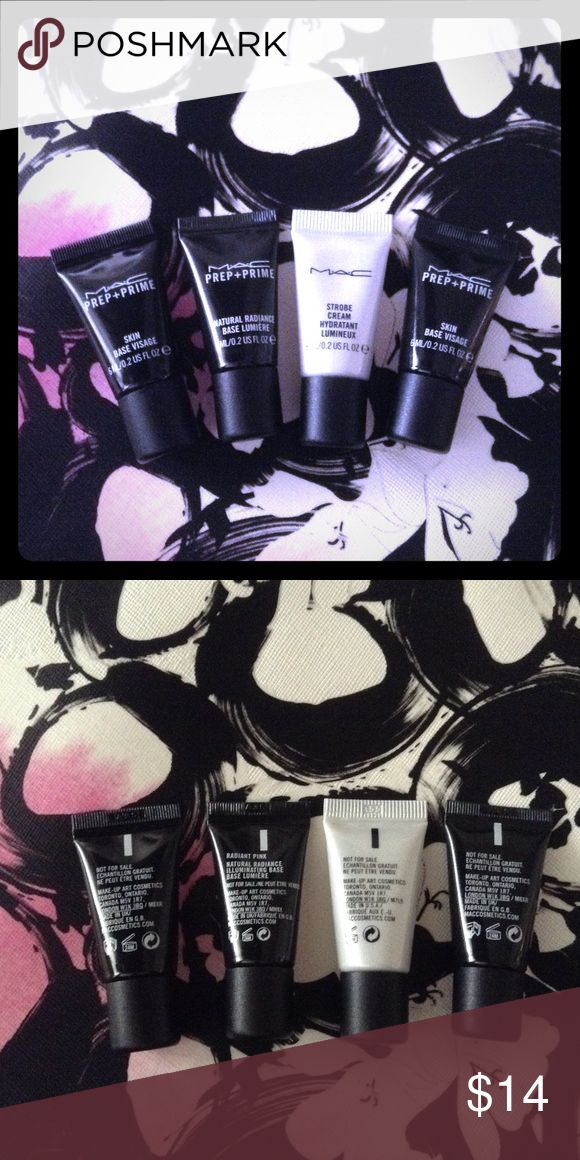 🌟 4 MAC Samples Strobe Cream & Prep + Prime 🌟 You will receive the four brand new unused MAC samples shown: 1 strobe cream, 1 prep + prime natural radiance (radiant pink), and 2 prep + prime skin base visage. Each sample is 0.2 oz. I have 3 sets of these an am happy to bundle. MAC Cosmetics Makeup Face Primer