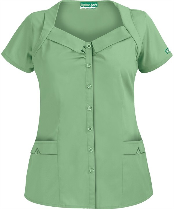 UA422C Butter-Soft Scrubs by UA™ Women's Rolled Collar Button Front Scrub Top in Willow http://www.uniformadvantage.com/pages/prod/ua422c-rolled-collar-top.asp?frmcolor=WILLO