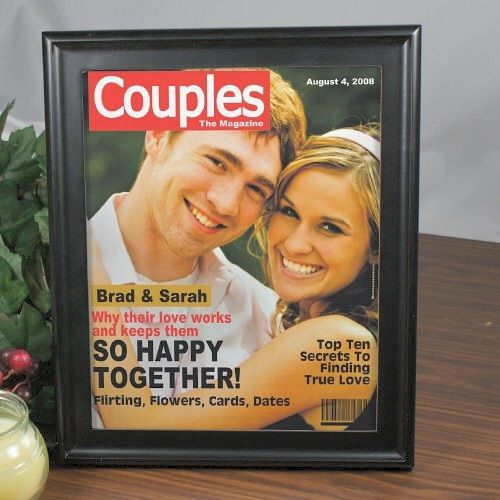 """Personalized Couples Magazine Cover Picture Frames. Our Personalized Couples Magazine Cover makes a great personalized announcement for a recent engagement, wedding, anniversary or special occasion. Show off the happy couple this Sweetest Day with this Unique Couples Magazine Cover. A romantic gift for the two of you. Our Custom Printed Couples Magazine Cover is printed on a high gloss paper and put into our 8"""" x 10"""" Black Frame."""