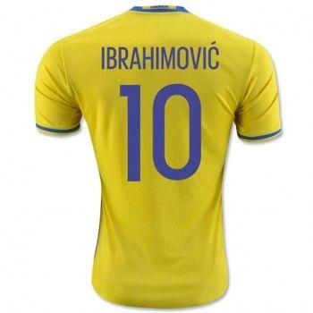 Sverige 2016 Ibrahimovic 10 Hemmatröja Kortärmad   #Billiga  #fotbollströjor