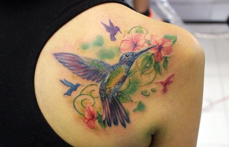 realistic tattoo hummingbird