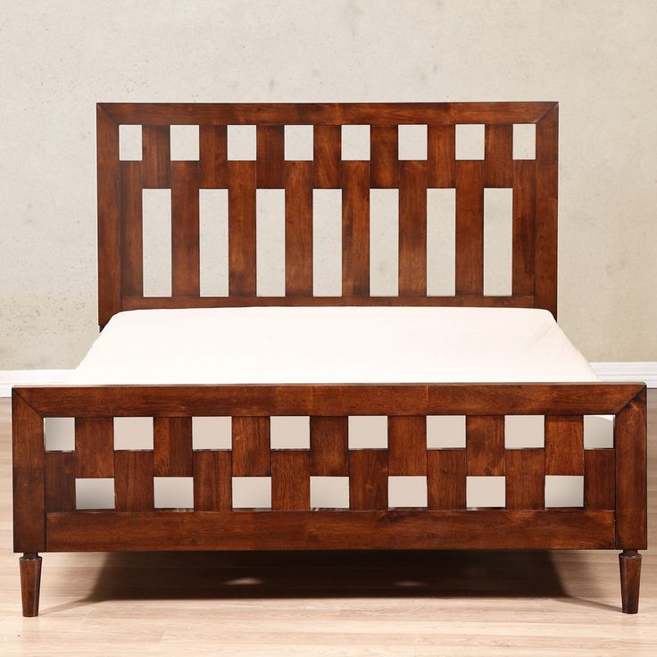 Featuring a unique interlocking design on the headboard and footboard, this transitional bed is perfect for unifying your decor. The tobacco finish gives the wood grain dimension while the clean lines add to the modernity of this bed.