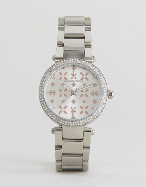 Michael Kors Silver Mini Parker & Rose Gold Watch