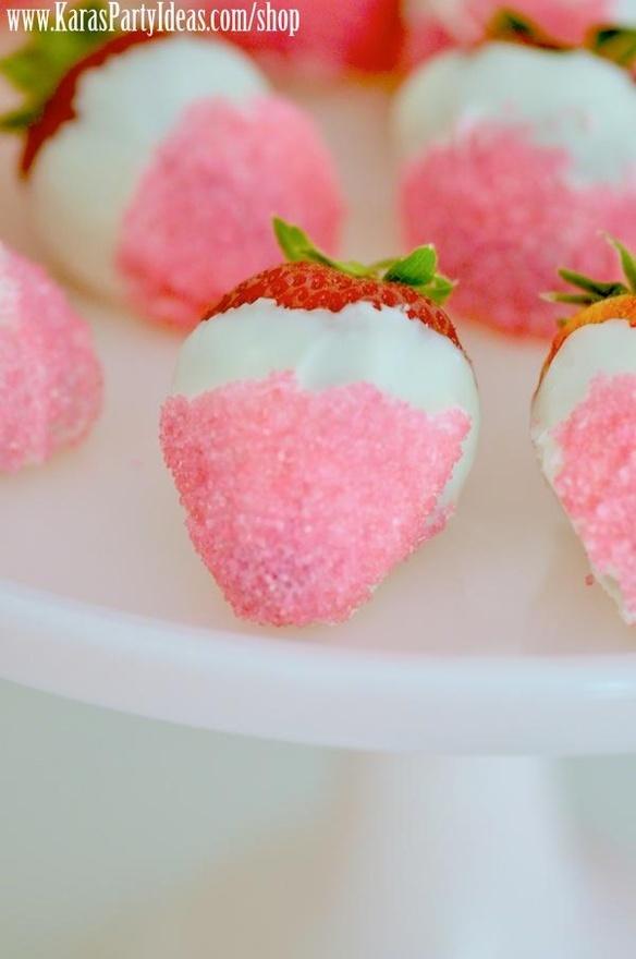 white chocolate pink sugar dipped strawberries!