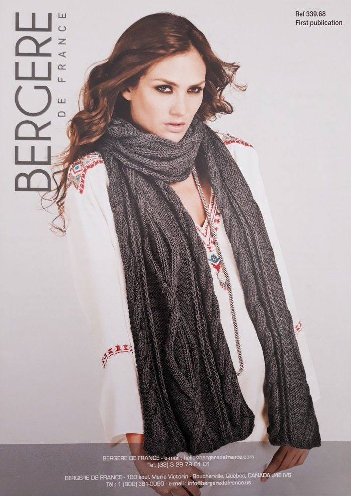 907550596 Knitting pattern Bergere de France 339.68 ladies aran cable pattern scarf   BergeredeFrance