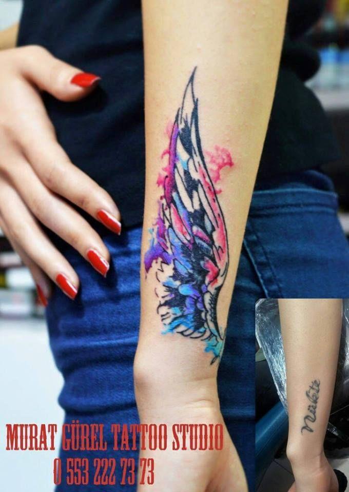 watercolor tattoo wing tattoo coverup tattoo '' tattoo artist by Murat GÜREL '' manisa dövme