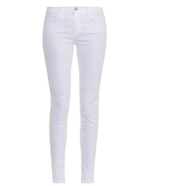 J BRAND Willow mid-rise skinny jeans (185 CAD) ❤ liked on Polyvore featuring jeans, pants, white, j brand, denim skinny jeans, white jeans, white skinny jeans and mid rise skinny jeans