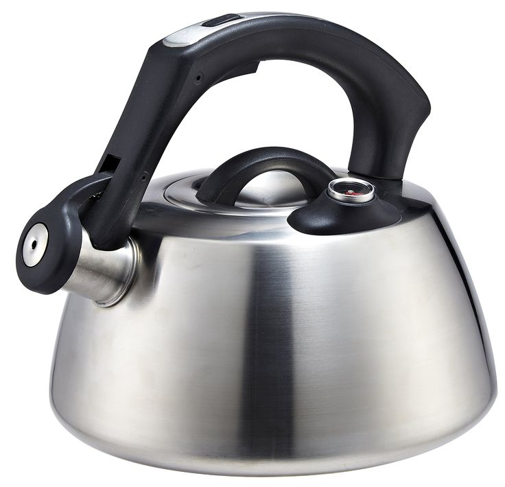 Pro Chef Kitchen Tools Stainless Steel Tea Kettle Pot - Modern Brushed Finish Stove Top Kettle with Thermometer for Correct Hot Water Temperature to Make Pour Over Coffee, Teas, Stovetop Cooking
