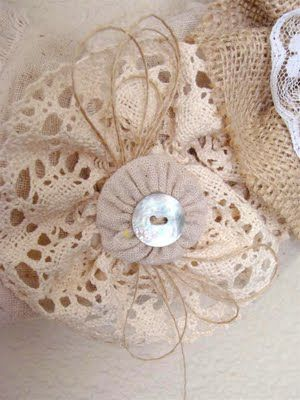 Flower made with vintage lace, doily