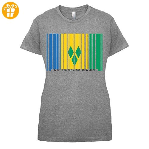 Saint Vincent and the Grenadines / St. Vincent und die Grenadinen Barcode Flagge - Damen T-Shirt - Sportlich Grau - XL (*Partner-Link)