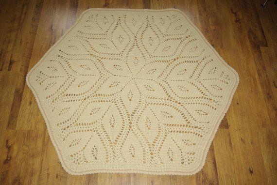 Crochet doily round rug 63'' 160 cm by AnuszkaDesign on Etsy, $160.00